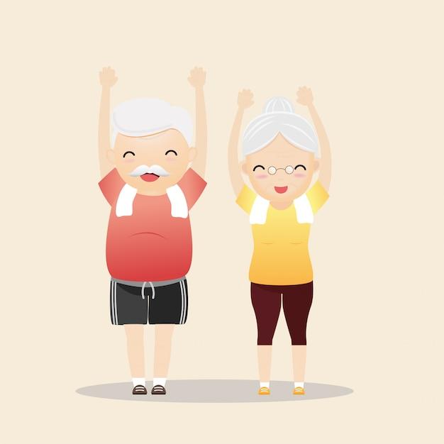 Pessoas idosas que exercitam o conceito. Vetor Premium