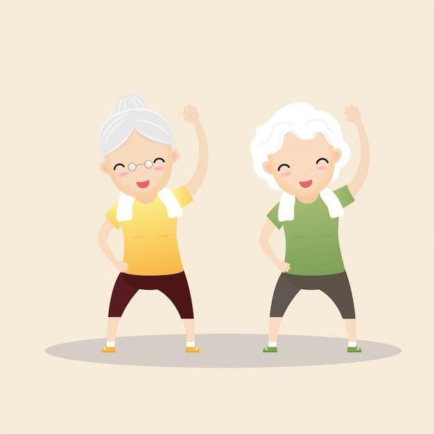 Pessoas idosas se exercitando. Vetor Premium