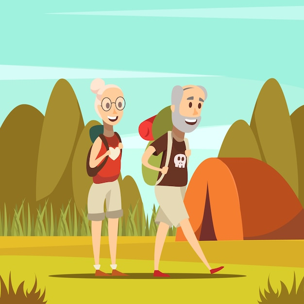 Pessoas idosas Vetor grátis