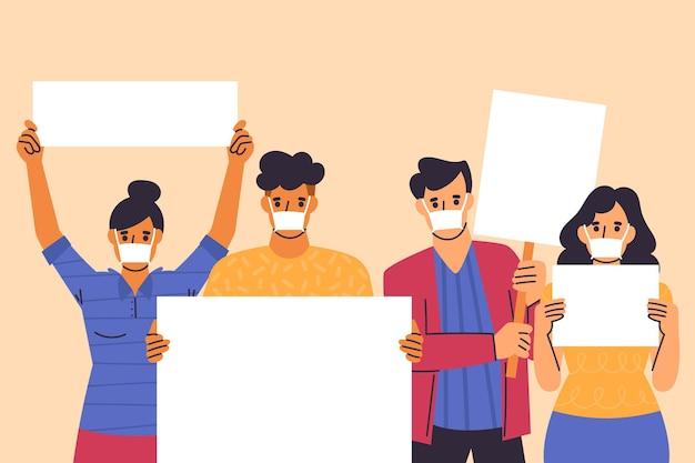 Pessoas ilustradas com máscaras médicas e cartazes Vetor grátis