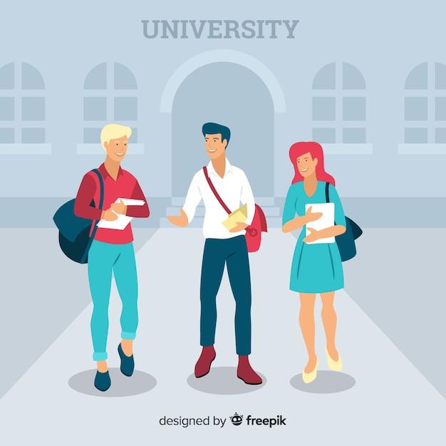 Pessoas indo para a universidade Vetor grátis