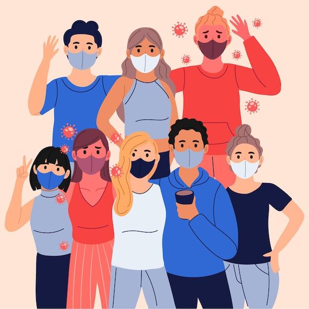 Pessoas infectadas entre pessoas saudáveis Vetor grátis