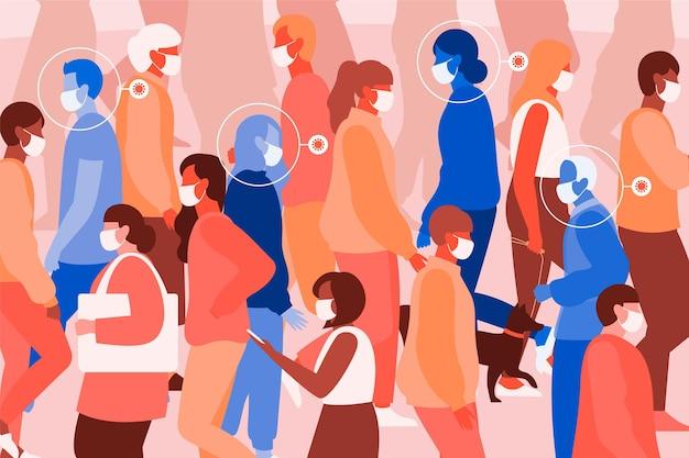 Pessoas infectadas ilustradas entre pessoas saudáveis Vetor grátis