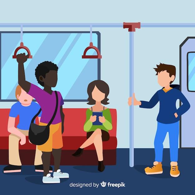 Pessoas, ir, metrô, apartamento, desenho Vetor grátis