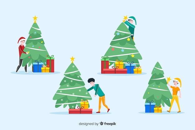 Pessoas isoladas com fundo de temporada de inverno de árvore de natal Vetor grátis