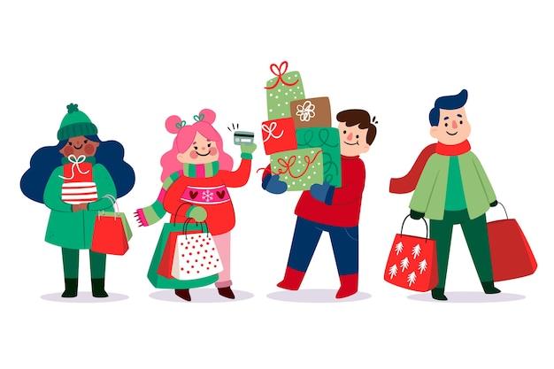 Pessoas isoladas, comprar presentes de natal Vetor grátis
