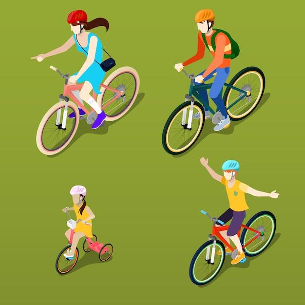 Pessoas isométricas. bicicleta isométrica. ciclistas de família. Vetor Premium