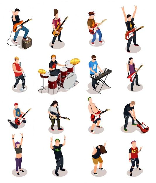 Pessoas isométricas de estrelas do rock Vetor grátis