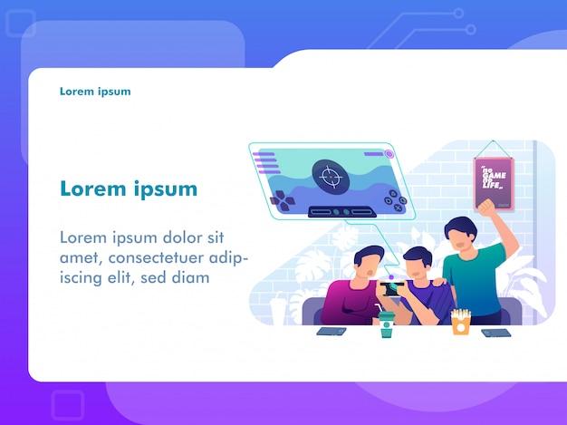 Pessoas jogando jogos móveis juntos. conceito de jogo para ilustração da web Vetor Premium