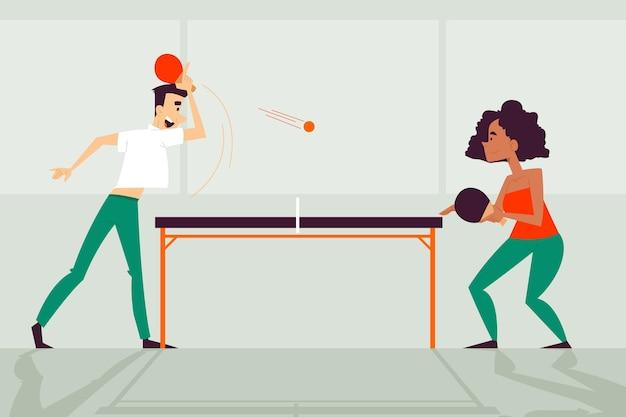 Pessoas jogando tênis de mesa design plano Vetor grátis