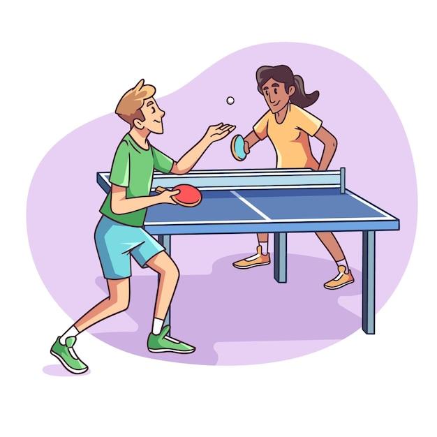 Pessoas jogando tênis de mesa estilo desenhado à mão Vetor grátis