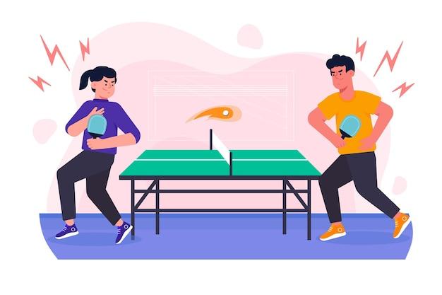 Pessoas jogando tênis de mesa Vetor grátis
