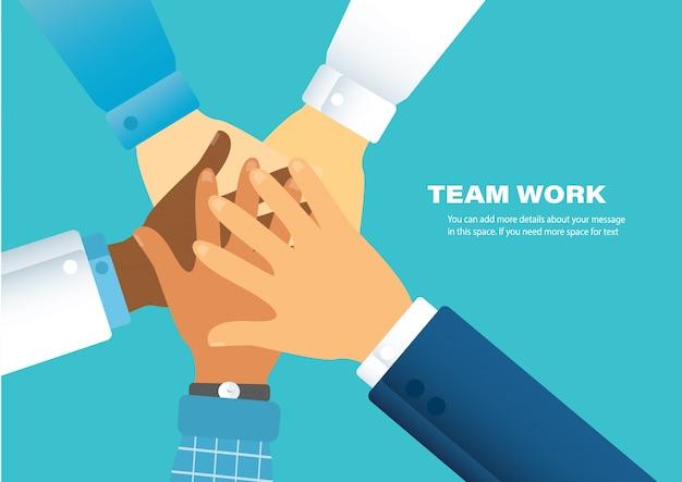 Pessoas juntando as mãos Vetor Premium