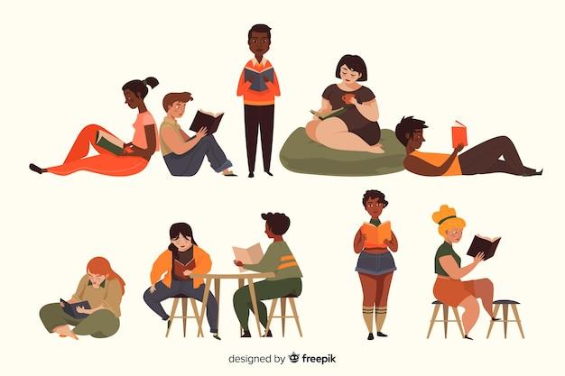 Pessoas, leitura, cobrança Vetor grátis