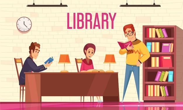 Pessoas lendo livros na biblioteca com estante plana Vetor grátis