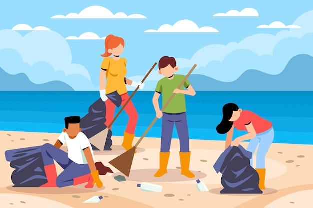 Pessoas limpando as praias juntas Vetor grátis