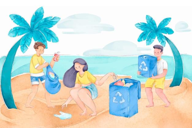 Pessoas limpando praia Vetor grátis