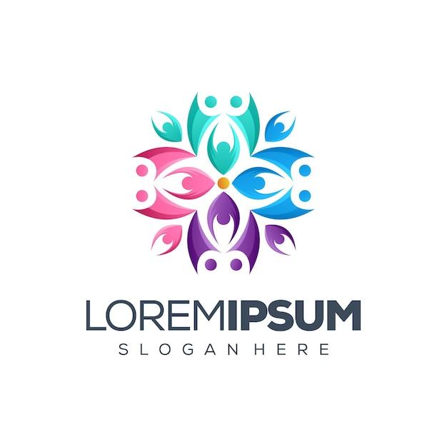 Pessoas logo design vector illustration Vetor Premium