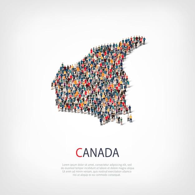 Pessoas mapeiam o país canadá Vetor Premium