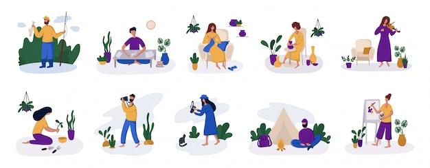 Pessoas - meninas e homens e seu hobby ou atividade diária Vetor Premium