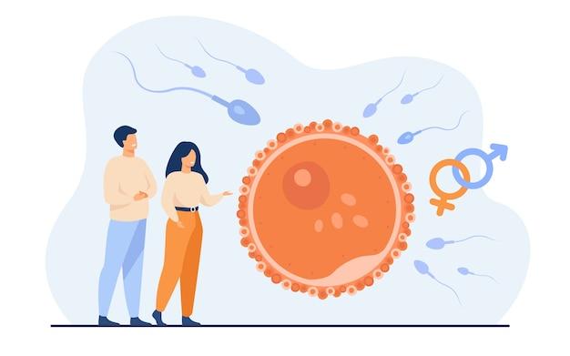 Pessoas minúsculas planejando ilustração em vetor plana bebê. desenvolvimento do embrião dos desenhos animados e visualização simbólica da reprodução humana saudável. fertilidade e conceito de paternidade Vetor grátis
