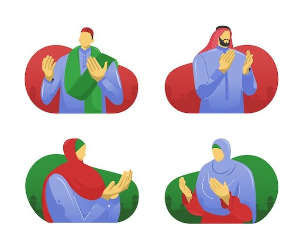 Pessoas muçulmanas orando mãos ilustração plana Vetor Premium