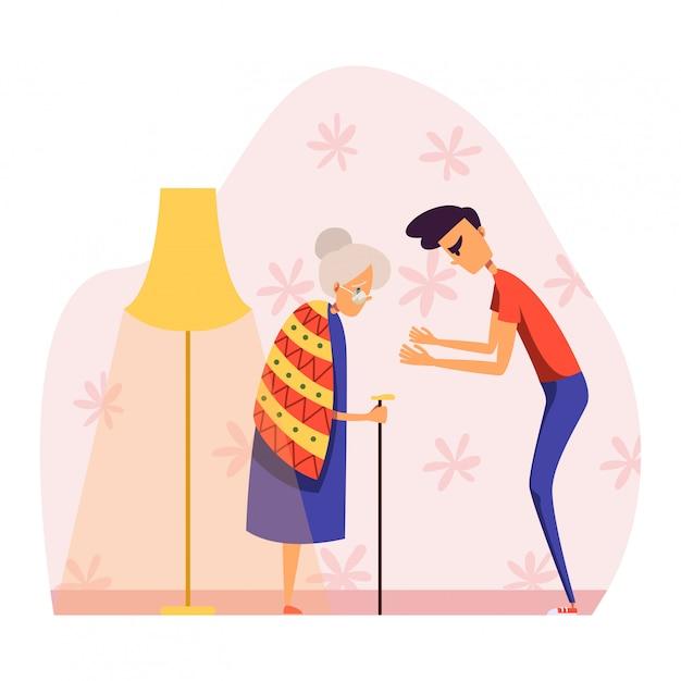 Pessoas na ilustração de briga, personagem de desenho animado jovem agressivo brigando, gritando com a mulher idosa em branco Vetor Premium