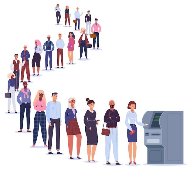Pessoas na linha de atm. personagens masculinos e femininos na fila aguardam a transação terminal, linha de pagamento bancário para ilustração de máquina atm. linha curva para atm, pagamento bancário perto da máquina terminal Vetor Premium