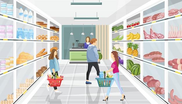 Pessoas na loja de supermercado Vetor Premium