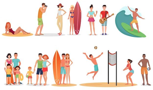 Pessoas na praia de férias de verão Vetor Premium