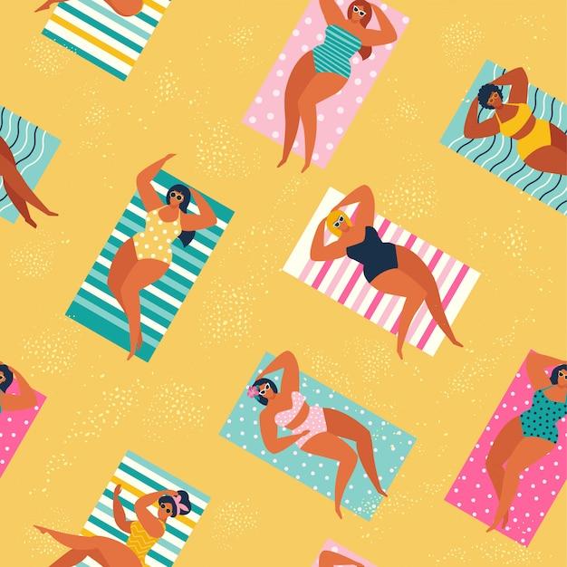 Pessoas na praia ou litoral relaxante. Vetor Premium