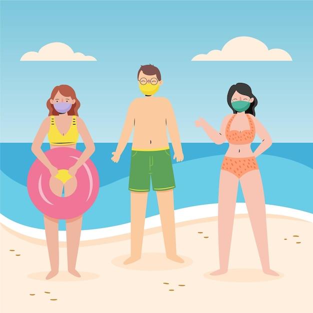 Pessoas na praia, vestindo o conceito de máscaras Vetor grátis