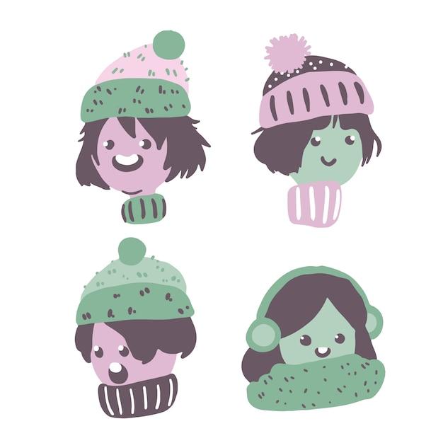 Pessoas natal, desgastar, roupas inverno, perfil Vetor Premium