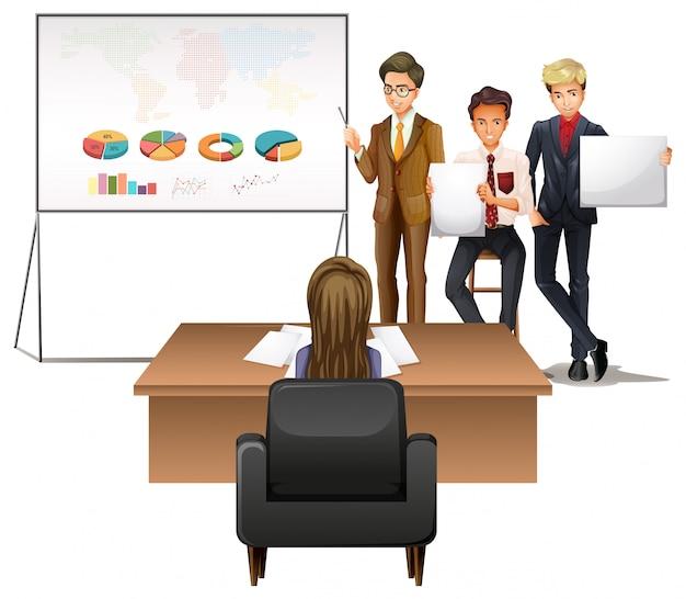 Pessoas negócio, apresentando, com, gráficos Vetor grátis