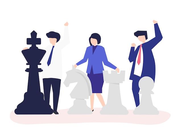 Pessoas negócio, com, gigante, xadrez, pedaços Vetor grátis