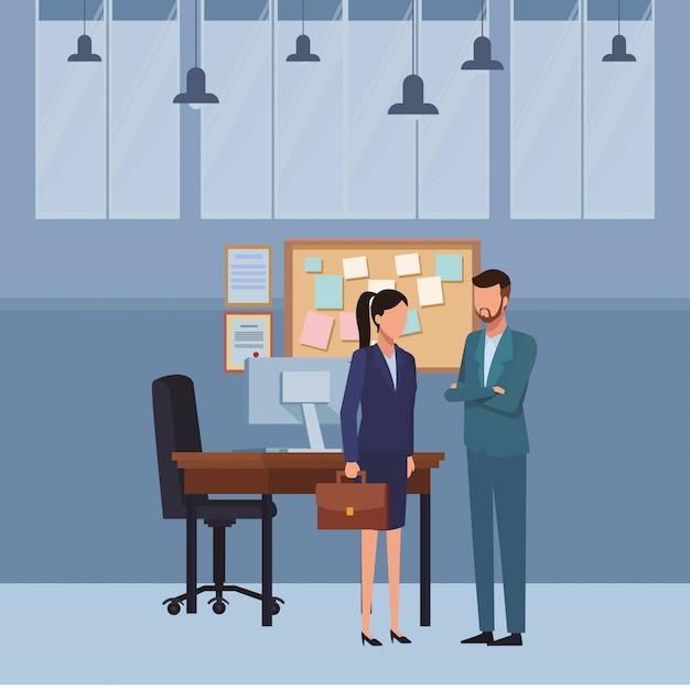 Pessoas negócio, e, escritório, elementos Vetor Premium