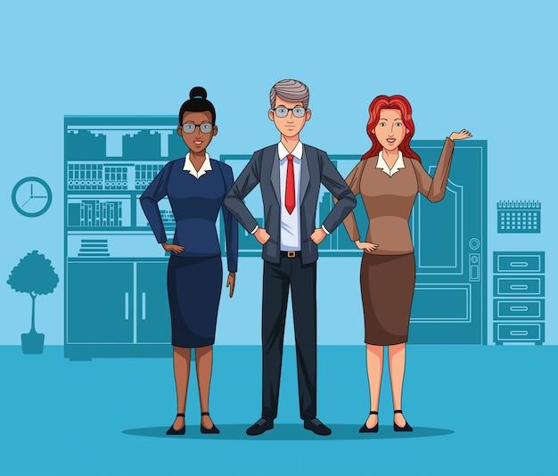Pessoas negócio, em, escritório Vetor Premium