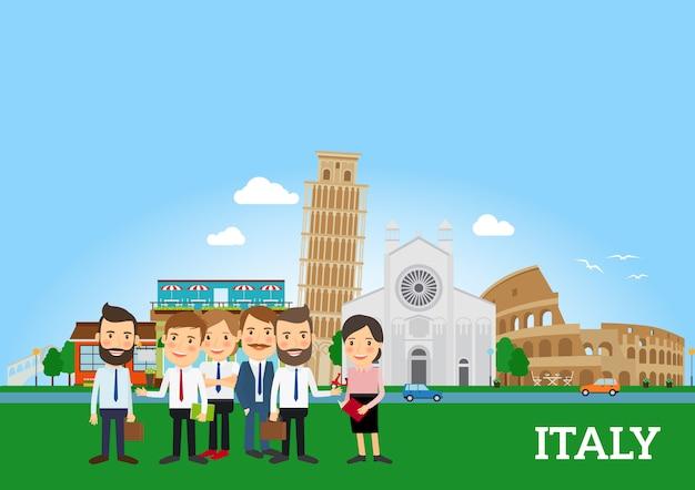 Pessoas negócio, em, itália Vetor Premium