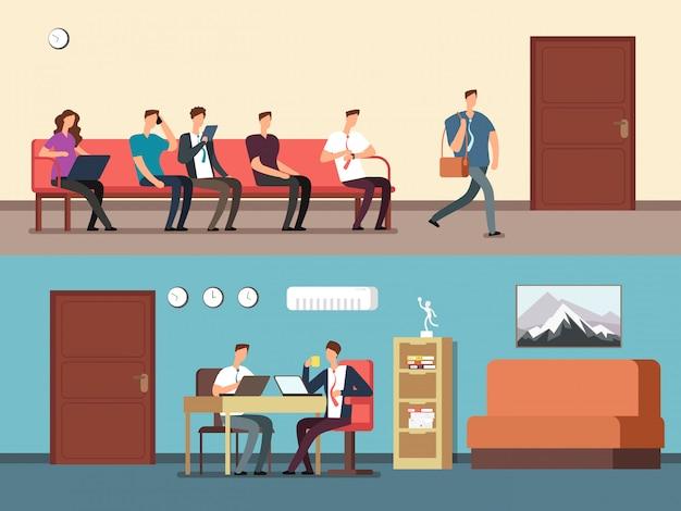 Pessoas negócio, empregados, sentar-se cadeiras, em, fila, esperando, entrevista Vetor Premium