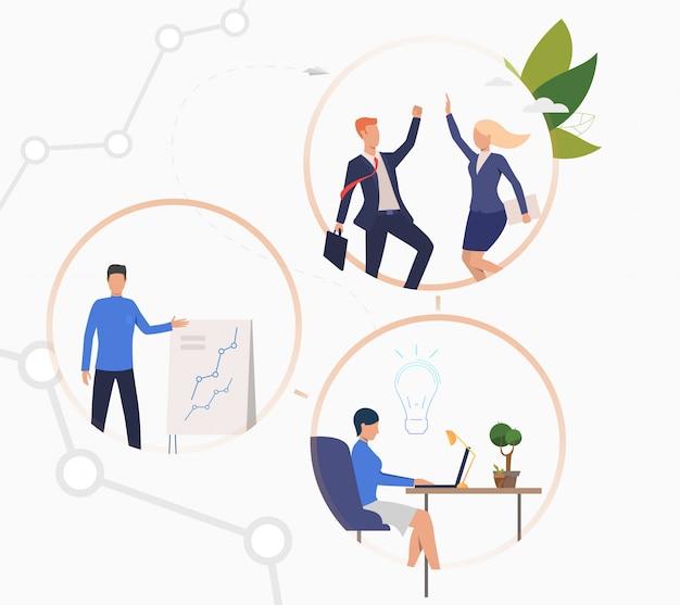Pessoas negócio, trabalhando, ligado, projeto Vetor grátis
