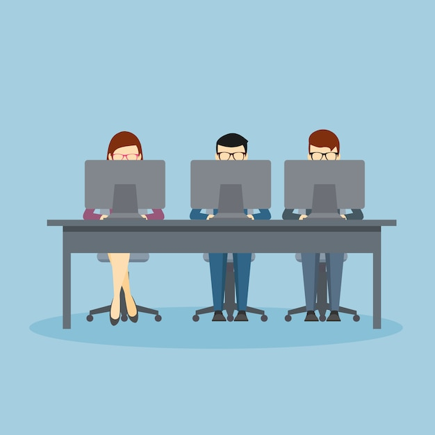 Pessoas negócio, usando, laptops Vetor Premium