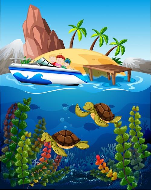 Pessoas no barco e tartarugas no fundo do mar Vetor Premium