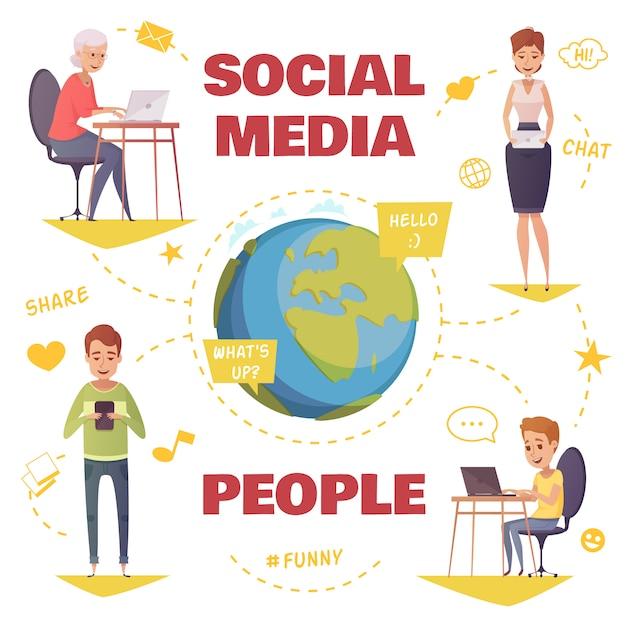 Pessoas no conceito de design de mídias sociais com jovens e idosos se comunicando por diferentes gadgets Vetor grátis