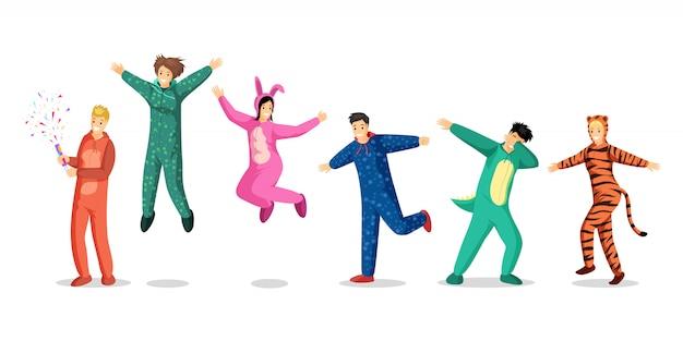 Pessoas no conjunto de ilustrações de pijama. felizes adolescentes e meninos em trajes coloridos, crianças em pijamas engraçados personagens de desenhos animados. festa do pijama, pernoite, elementos de design de festa do pijama Vetor Premium