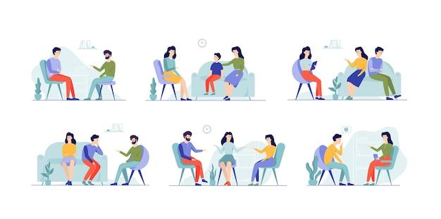 Pessoas no conjunto de psicólogo. família em consulta Vetor Premium
