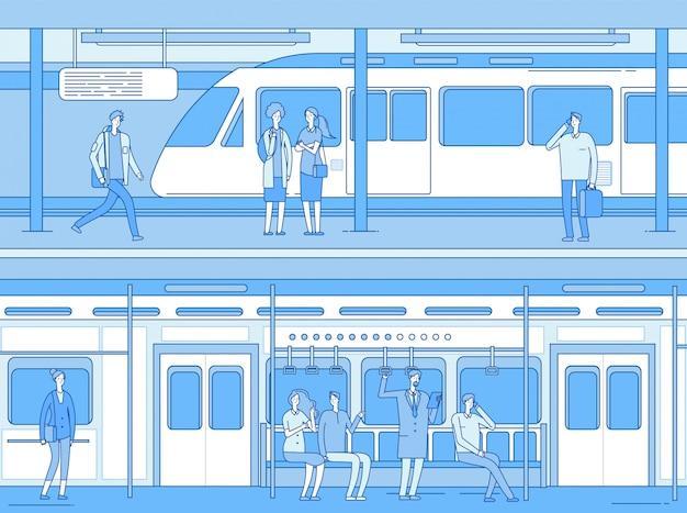 Pessoas no metrô. estação de plataforma de metro de trem de espera de mulher homem. pessoas no interior do trem. transporte subterrâneo Vetor Premium