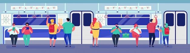 Pessoas no metrô transporte metro trem dentro, personagem de desenho animado homem mulher passageiro sentado, em pé na carroça Vetor Premium