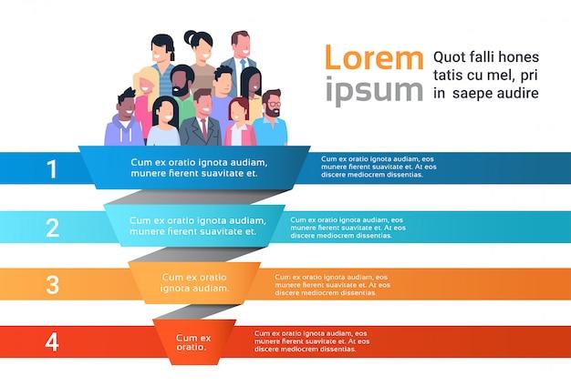 Pessoas no modelo de infográfico de funil Vetor Premium