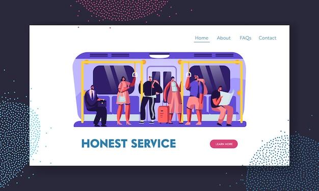 Pessoas no modelo de página de destino de site metro Vetor Premium