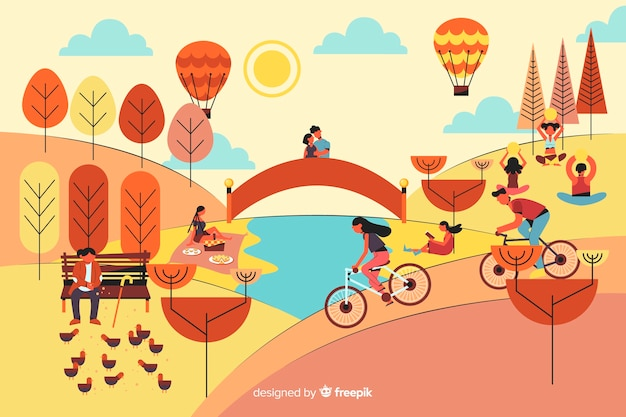 Pessoas no parque com balões de ar quente Vetor grátis